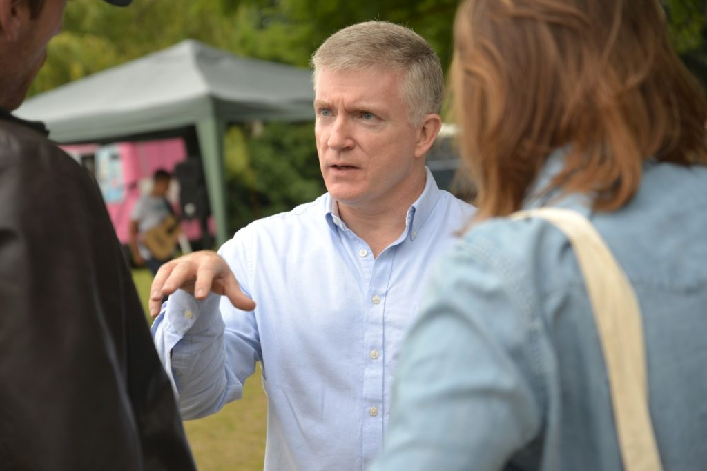 Mark Prisk MP discusses the quarry plans with local residents